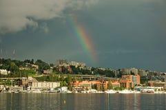 Eastlake Rainbow. Rainbow over Eastlake in Seattle, WA royalty free stock photo