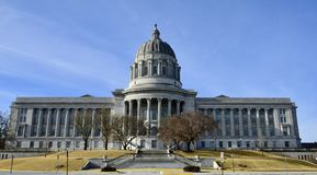 Eastside of Missouri State Capitol. This is a Winter picture of the iconic Eastside of the Missouri State Capitol Building located in Jefferson City, Missouri in Royalty Free Stock Image