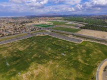 Eastvale Soccer park aerial view Royalty Free Stock Photos