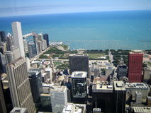 Eastward view from the Willis Tower, Chicago, IL royalty free stock images