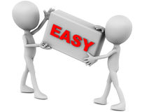 Easy. Word on a box held up by two little 3d men, white background, red text Royalty Free Stock Image