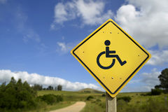 Easy access road sign concept with wheelchair icon. Easy access for all people and inclusive support concept. Road sign with wheelchair disability icon on rural stock photos