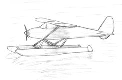 Easy airplane sits on the water, sketch Stock Image