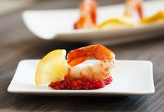 Easy Appetizer With Shrimp Royalty Free Stock Image