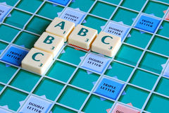 Easy as abc. Photo of scrabble tile game with letters spelling out abc royalty free stock photo