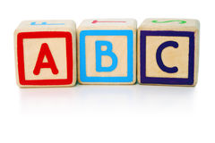 Easy as abc. Isolated children's building blocks spelling a b c Royalty Free Stock Image
