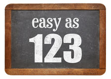 Easy as 123 blackboard sign Stock Images