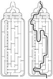 Easy baby bottle maze. For younger kids with a solution in black and white vector illustration
