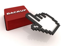 Easy backup. One click easy backup button, red button with hand cursor on white background Stock Photos