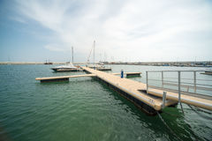 Easy berth for sailing yachts on the new pier Sarafovo in Bourgas, Bulgaria Stock Image