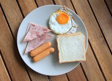 Easy breakfast. American breakfast on a wooden table stock images