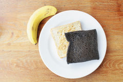 Easy breakfast with bread and banana Stock Photography