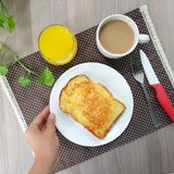 Easy breakfast with cheese toast, coffee and orange juice Royalty Free Stock Photos