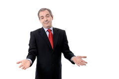 Easy business. Smiling Businessman with easy business solutions for everyone, isolated over white - studio shot Stock Photo