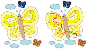 Easy butterfly maze Stock Image