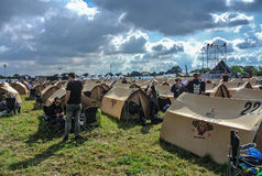 Easy camping in Hellfest festival metal Stock Image