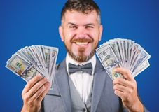 Easy cash loans. Win lottery concept. Businessman got cash money. Get cash easy and quickly. Cash transaction business. Man happy winner rich hold pile of royalty free stock images