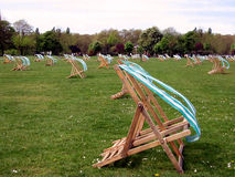 Easy chairs,. Easy chairs in Hyde Park, London stock image