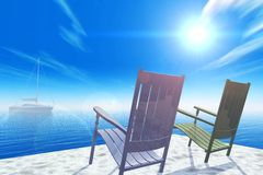 Easy chairs ashore. Executed in 3 D Royalty Free Stock Photos