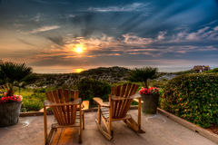 Easy Chairs at Sunrise on Amelia Royalty Free Stock Photo