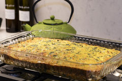 Easy Cheese and Egg Chard Bacon Pie Stock Images