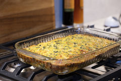 Easy Cheese and Egg Chard Bacon Pie Royalty Free Stock Images