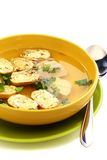 Easy chicken soup with egg rolls. Stock Photo