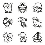 Easy Coloring drawings of animals icon set. Easy Coloring drawings of animals for little kids icon set, collection created for Mobile, Web, Decor, Print Products Stock Photo