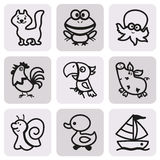Easy Coloring drawings of animals for little kids. icon set. Easy Coloring drawings of animals for little kids: icon set, collection Stock Photos
