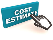 Cost estimate. Easy cost estimate, by just a click of a button, hand icon clicking a button with cost estimate label, white background Royalty Free Stock Images