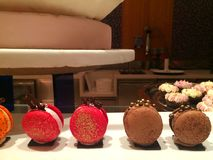 Easy and Delicious party Finger food,  buttercream strawberry and chocolate French Macaron elegant decorate with gold Royalty Free Stock Images