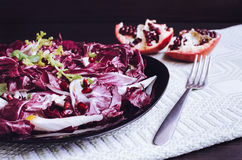 Easy diet chicory salad with pomegranate. On dark wooden background with fork. Italian bitter and spicy tasted red chicory radicchio salad. Vegetarian Food Stock Photo