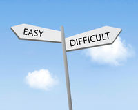 Easy or difficult. Written on a road sign royalty free stock photo