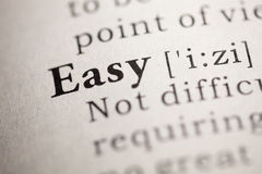 Easy. Fake Dictionary, Dictionary definition of the word Easy royalty free stock photography