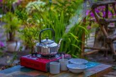 Egg porridge and hot coffee for breakfast. Easy fast food cooking a simple egg porridge and hot coffee for breakfast Royalty Free Stock Image