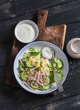 Easy and fast salad with smoked turkey, cucumber and boiled egg. Royalty Free Stock Photos