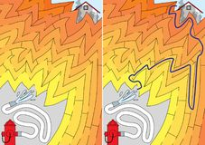 Easy firefighting maze. For younger kids with a solution vector illustration