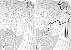 Easy firefighting maze. For younger kids with a solution in black and white Stock Images