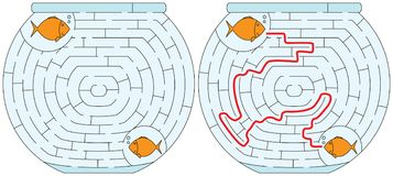 Easy fishbowl maze. For younger kids with a solution Stock Images