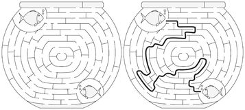 Easy fishbowl maze. For younger kids with a solution in black and white Stock Photo