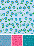 Easy flowers on seamless pattern Stock Photo