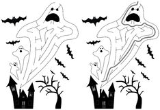 Easy ghost maze. For younger kids with a solution in black and white stock illustration