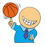 Easy goal. A cute cartoon business character balancing and spinning a basketball on his finger Royalty Free Stock Photo