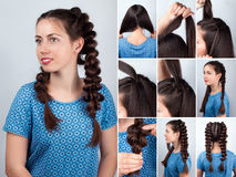 Easy hairstyle braids for long hair tutorial Royalty Free Stock Images