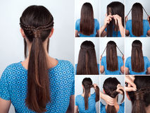 Easy hairstyle pony tail with plaits hair tutorial Stock Photos