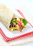 Easy ham and cheese wrap Royalty Free Stock Photo