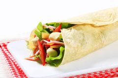 Easy ham and cheese wrap Stock Photo
