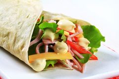 Easy ham and cheese wrap Stock Photography