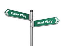 Easy hard way road sign Stock Image
