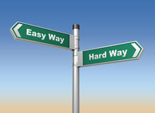 Easy hard way road sign Royalty Free Stock Photography